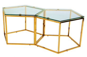 Gold Honeycomb Coffee Table